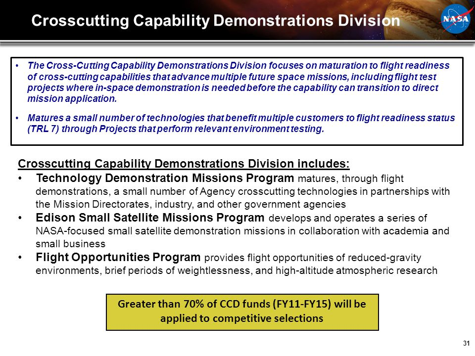 Crosscutting Capability Demonstrations Division