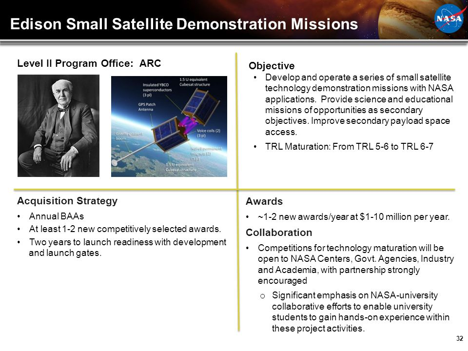 Edison Small Satellite Demonstration Missions