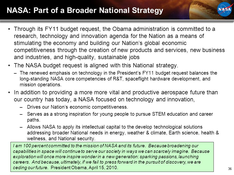 NASA: Part of a Broader National Strategy
