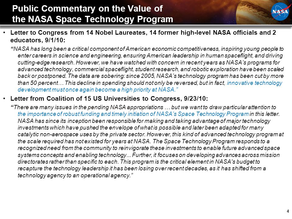 Public Commentary on the Value of the NASA Space Technology Program
