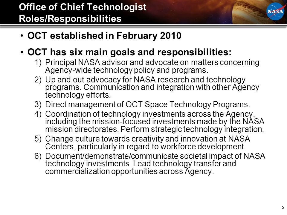 Office of Chief Technologist Roles/Responsibilities
