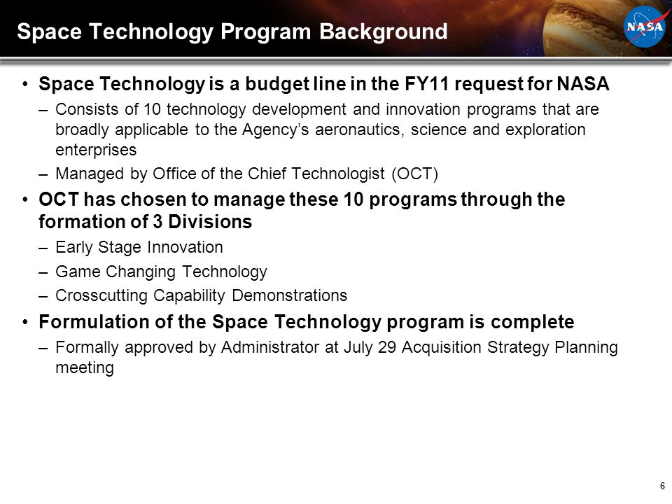 Space Technology Program Background