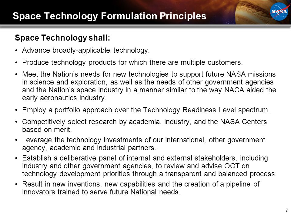 Space Technology Formulation Principles