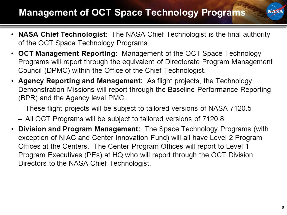 Management of OCT Space Technology Programs