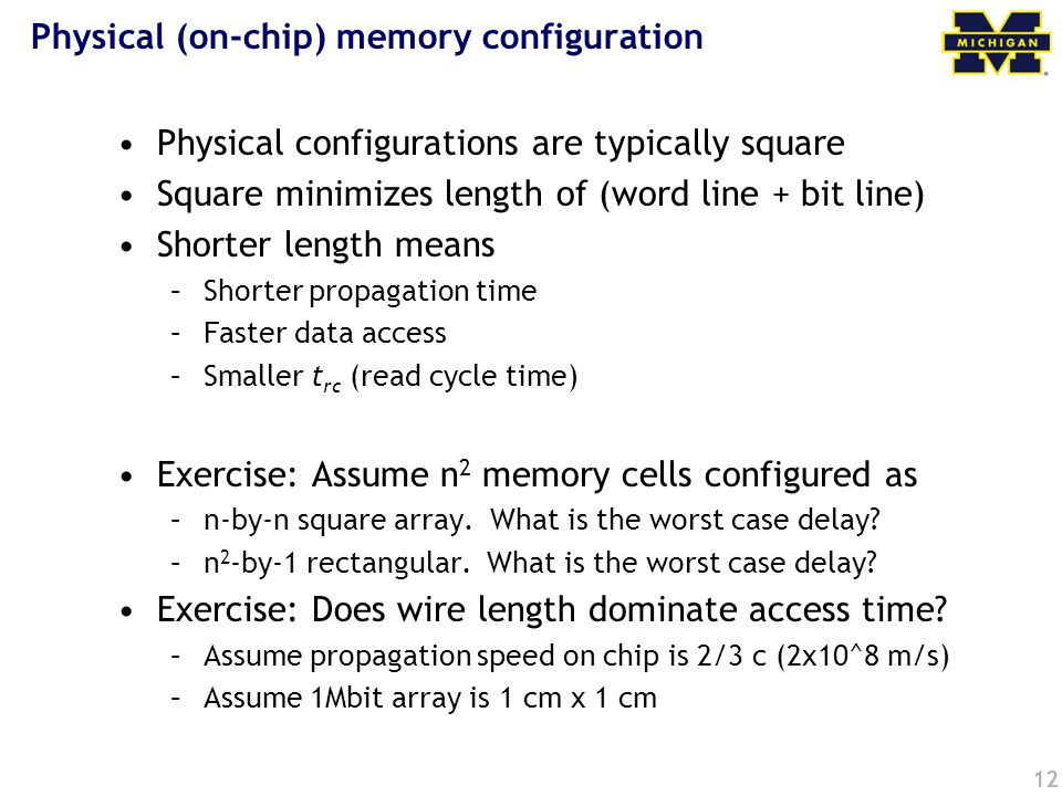 Physical (on-chip) memory configuration
