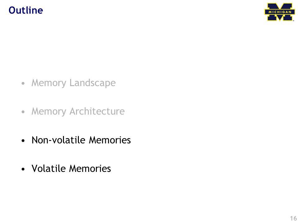 Outline Memory Landscape Memory Architecture Non-volatile Memories Volatile Memories