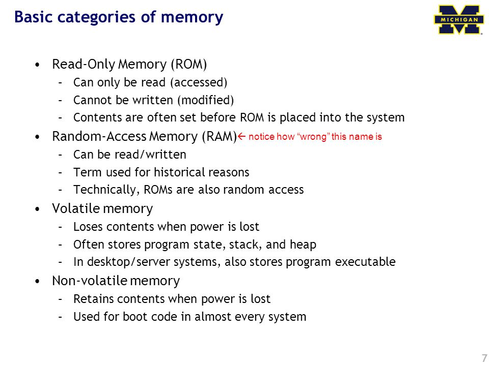Basic categories of memory