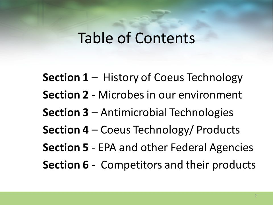 Table of Contents Section 1 – History of Coeus Technology
