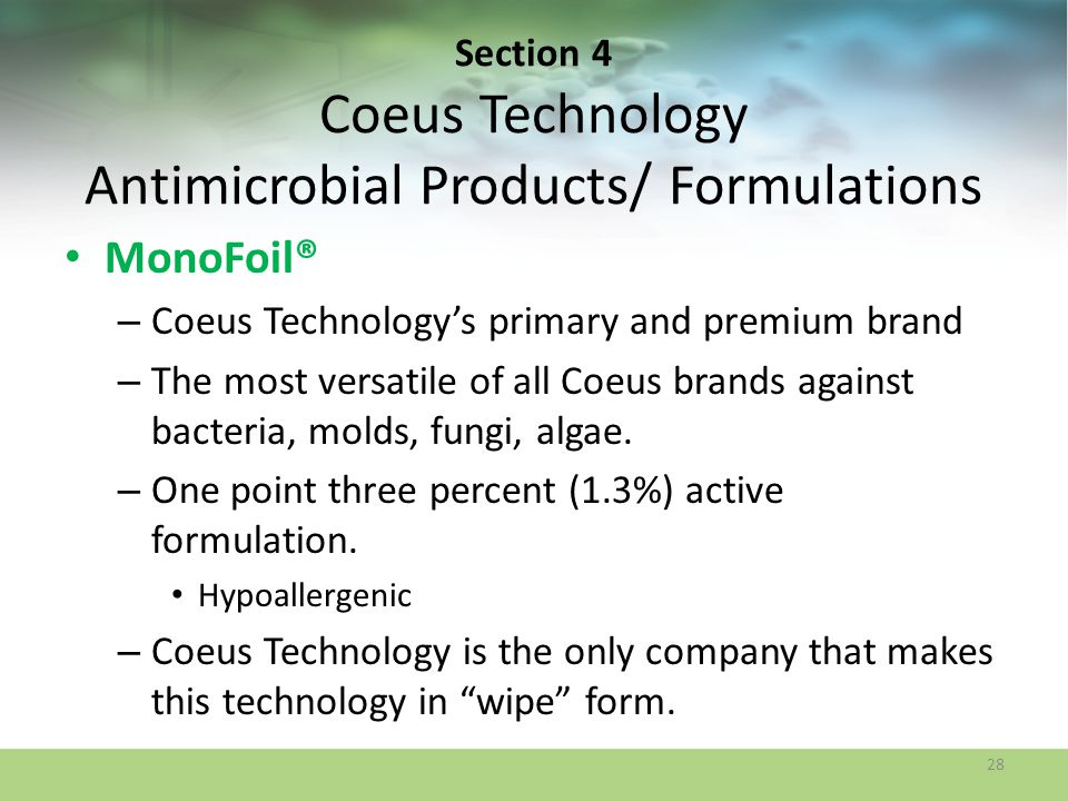 Section 4 Coeus Technology Antimicrobial Products/ Formulations
