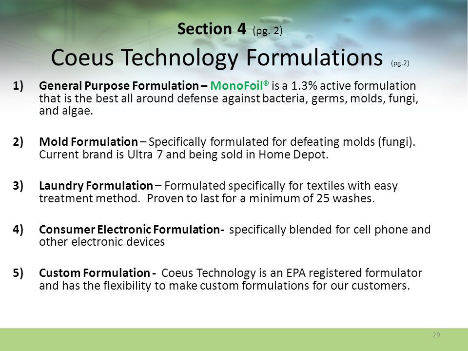 Section 4 (pg. 2) Coeus Technology Formulations (pg.2)