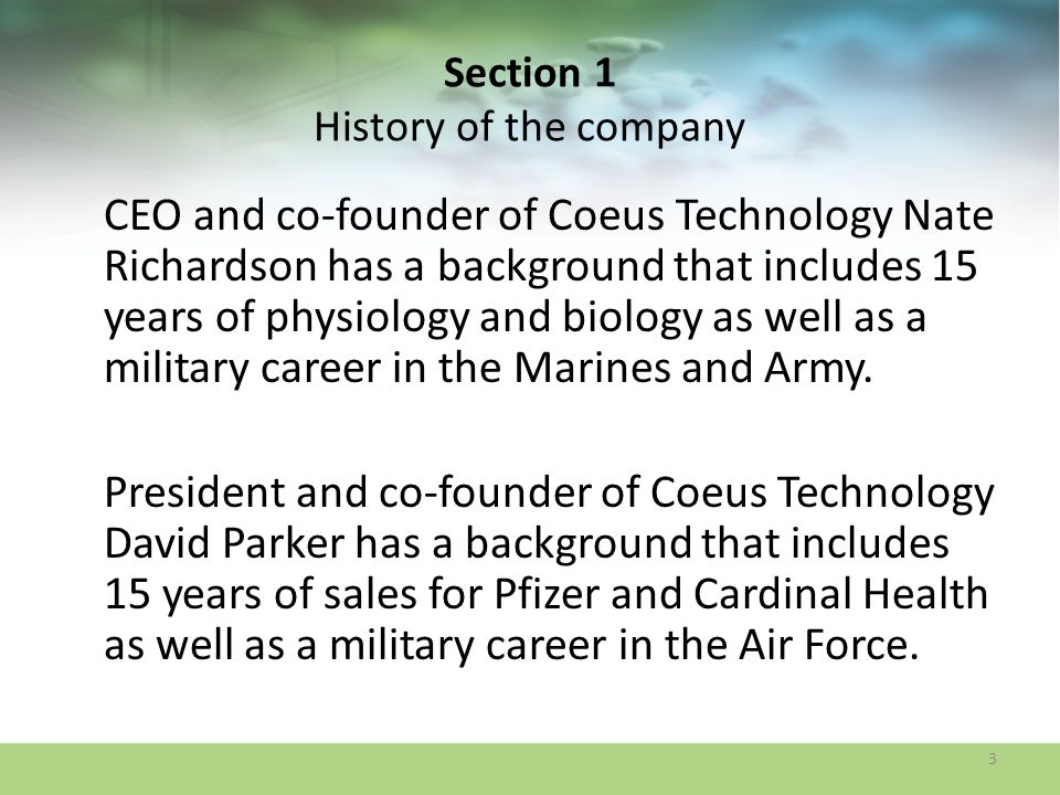 Section 1 History of the company