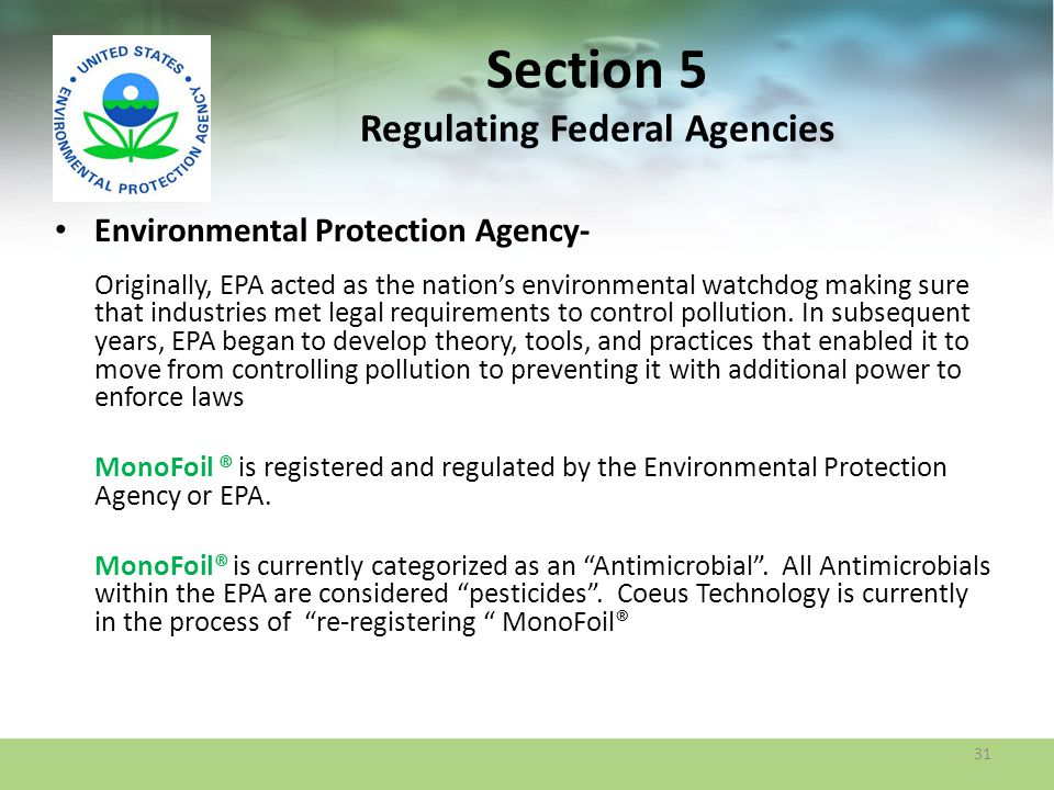 Section 5 Regulating Federal Agencies