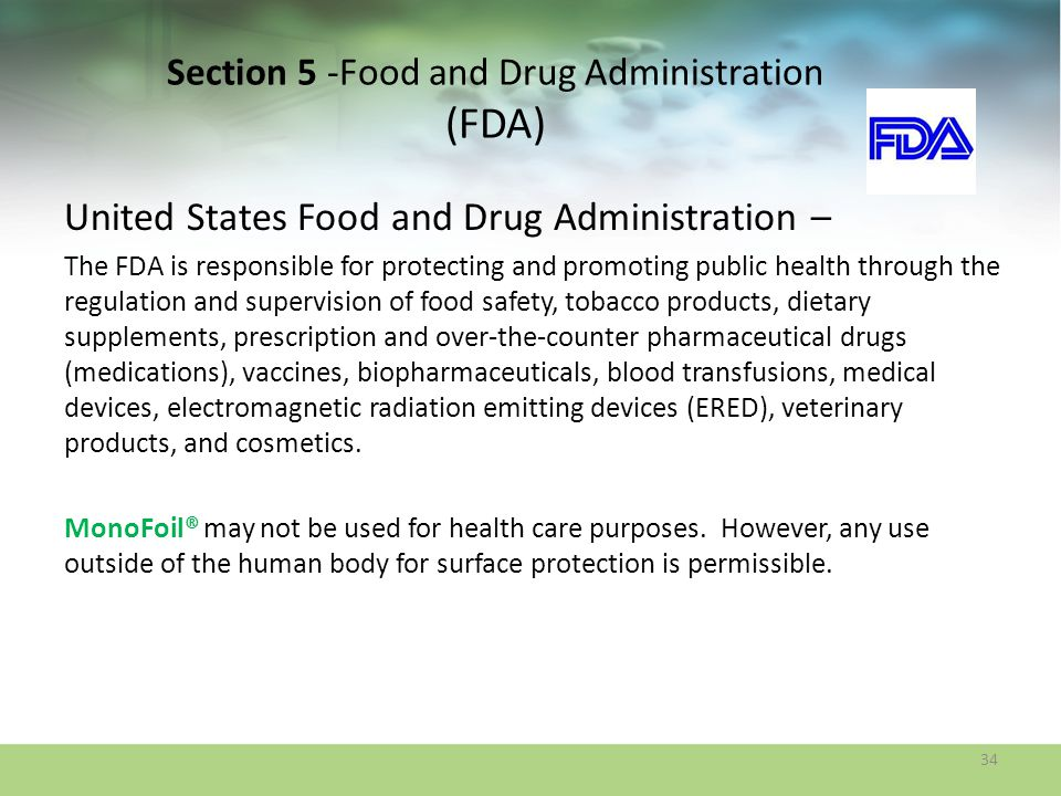 Section 5 -Food and Drug Administration (FDA)