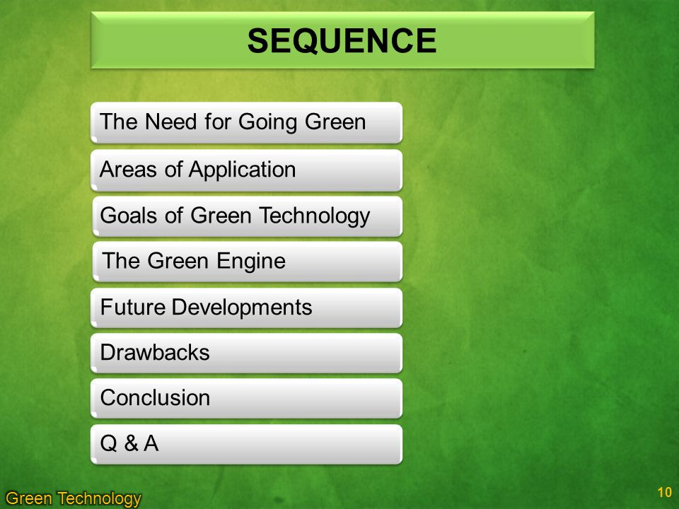SEQUENCE The Need for Going Green Areas of Application