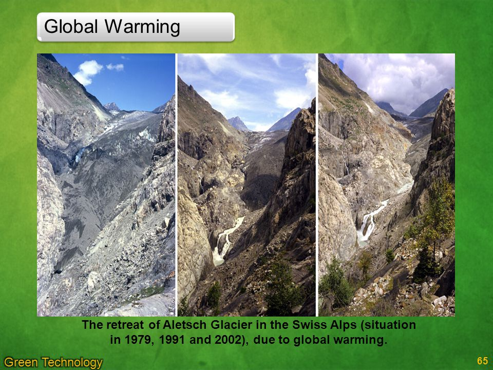 Global Warming The retreat of Aletsch Glacier in the Swiss Alps (situation in 1979, 1991 and 2002), due to global warming.