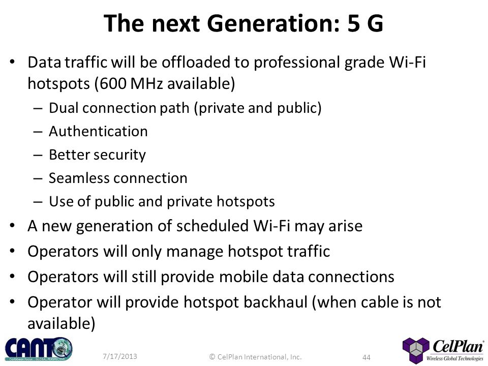 The next Generation: 5 G Data traffic will be offloaded to professional grade Wi-Fi hotspots (600 MHz available)