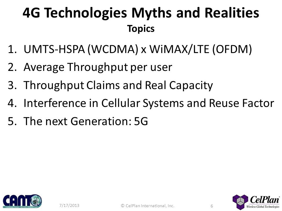 4G Technologies Myths and Realities Topics