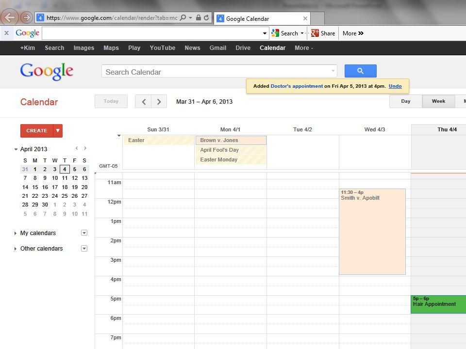 Result in Calendar