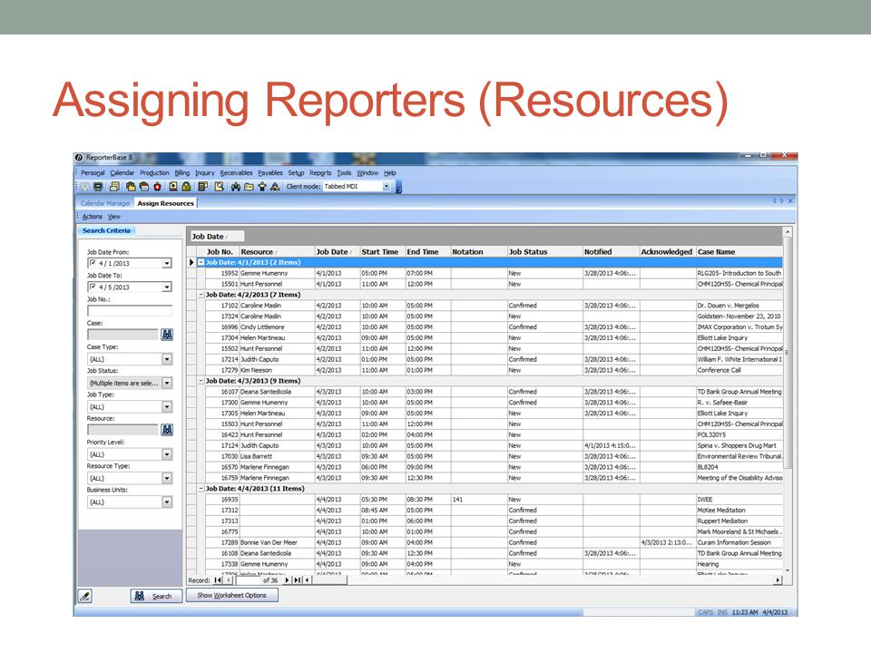 Assigning Reporters (Resources)