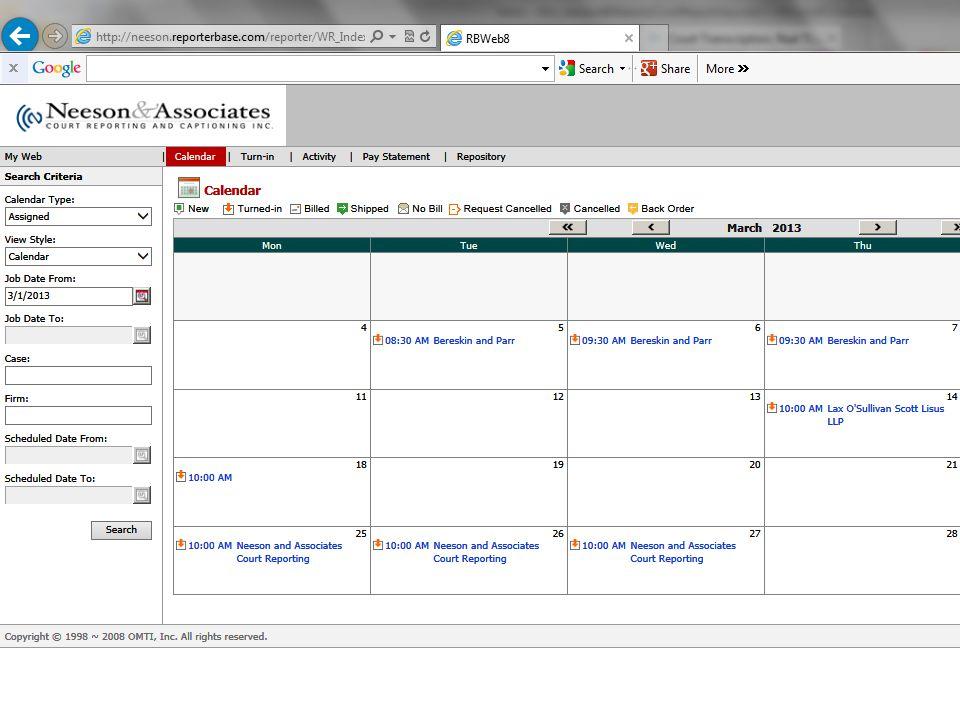 Reporter Base Court Reporter Calendar/Schedule