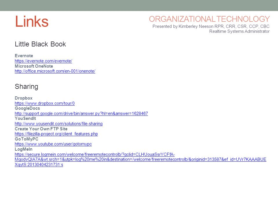 Links ORGANIZATIONAL TECHNOLOGY Little Black Book Sharing