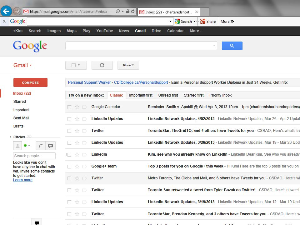 Gmail – note Google Calendar entry in the Inbox