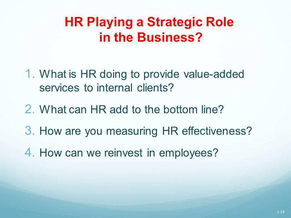 HR Playing a Strategic Role in the Business