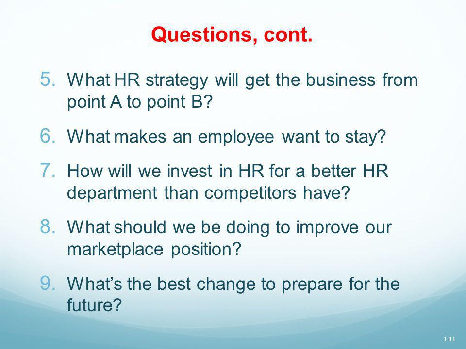Questions, cont. What HR strategy will get the business from point A to point B What makes an employee want to stay