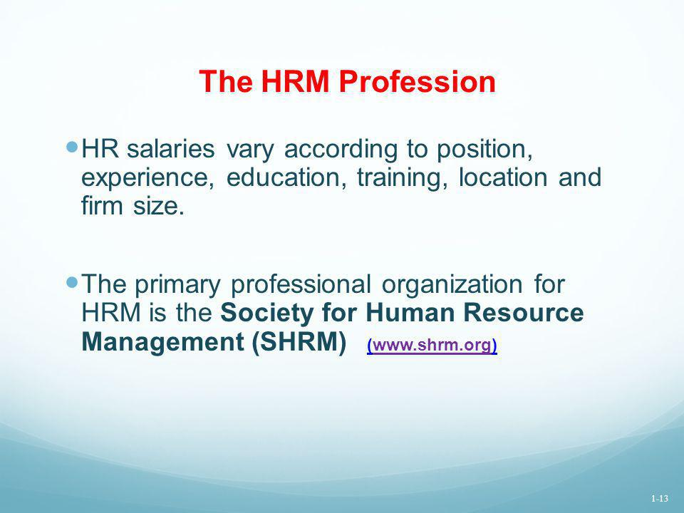 The HRM Profession HR salaries vary according to position, experience, education, training, location and firm size.