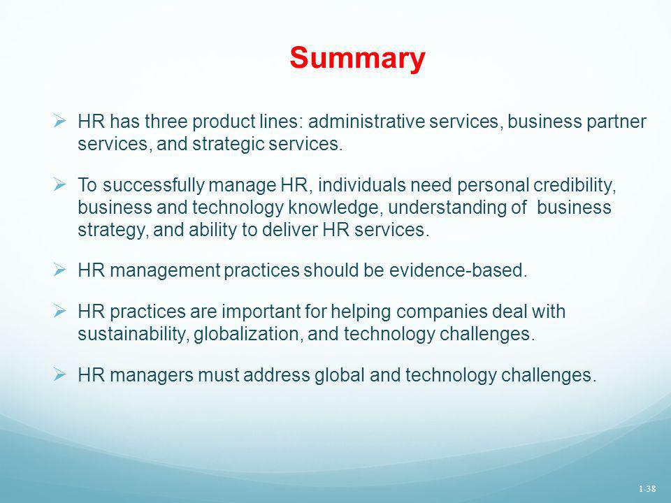 Summary HR has three product lines: administrative services, business partner services, and strategic services.