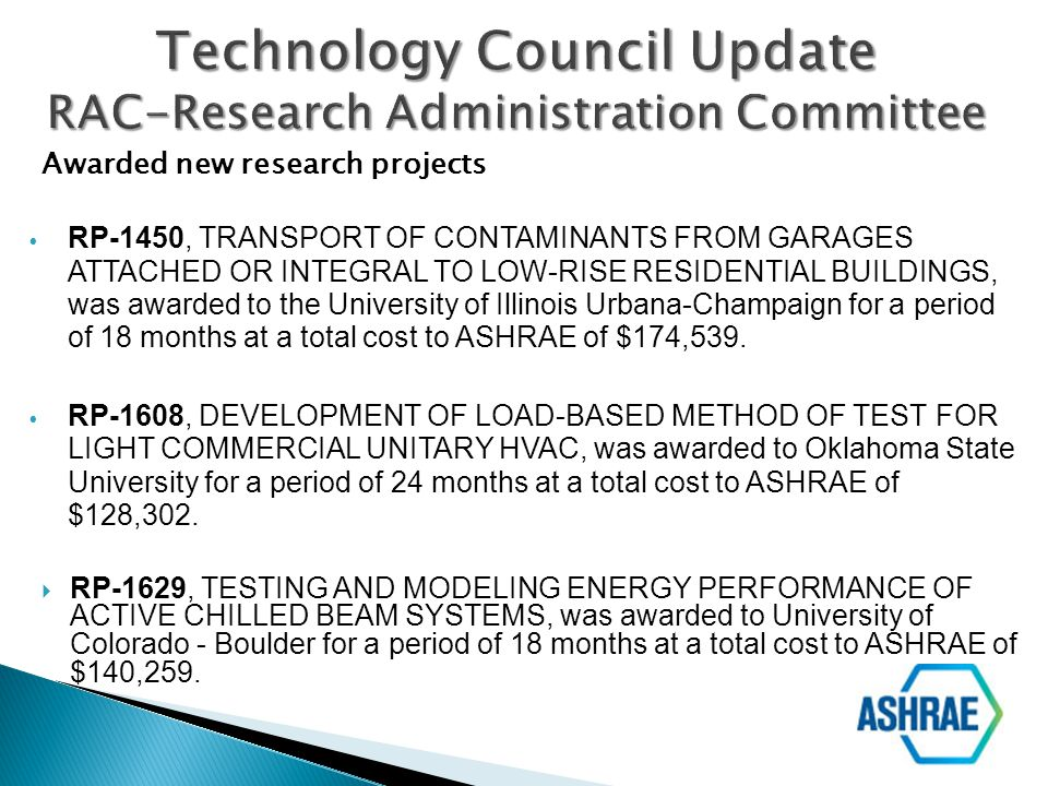 Technology Council Update RAC-Research Administration Committee