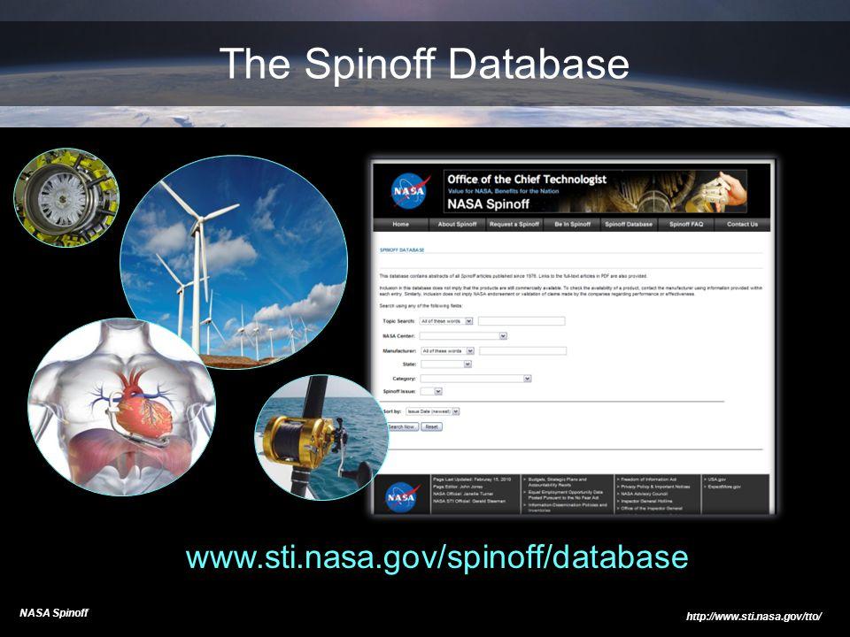 The Spinoff Database www.sti.nasa.gov/spinoff/database NASA Spinoff