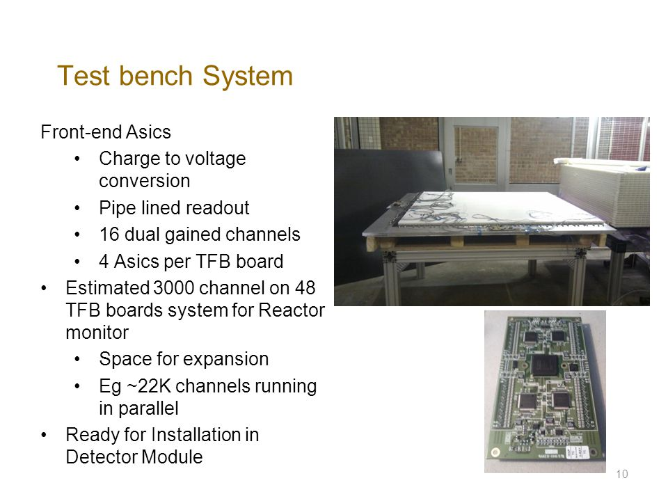 Test bench System Front-end Asics Charge to voltage conversion