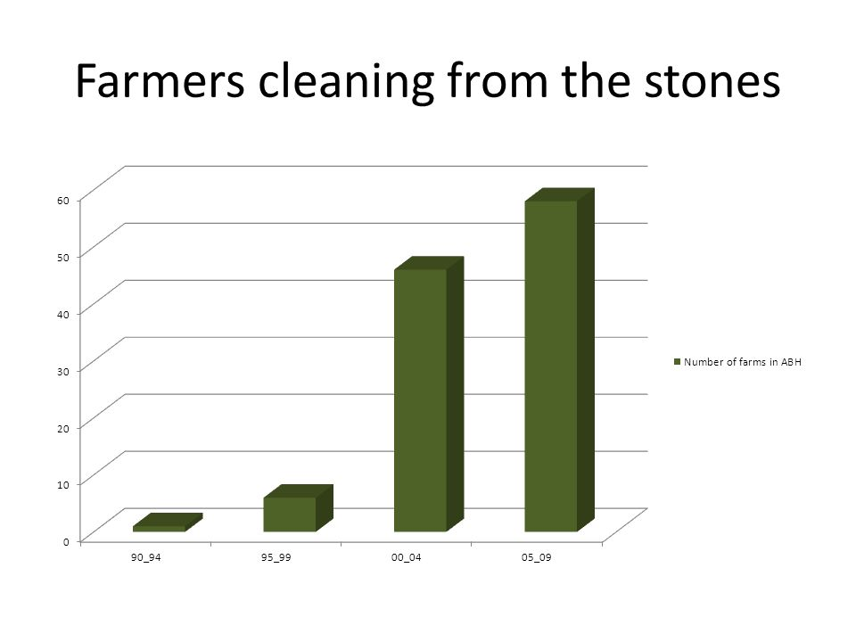 Farmers cleaning from the stones