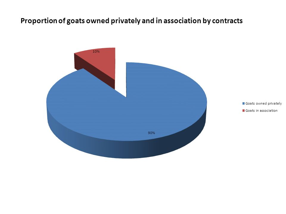Proportion of goats owned privately and in association by contracts