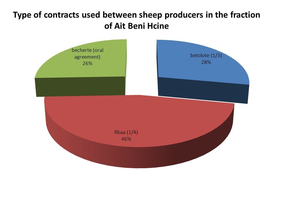 Type of contracts used between sheep producers in the fraction of Ait Beni Hcine