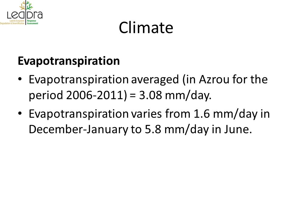 Climate Evapotranspiration