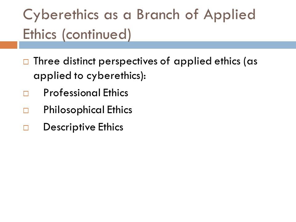 Cyberethics as a Branch of Applied Ethics (continued)