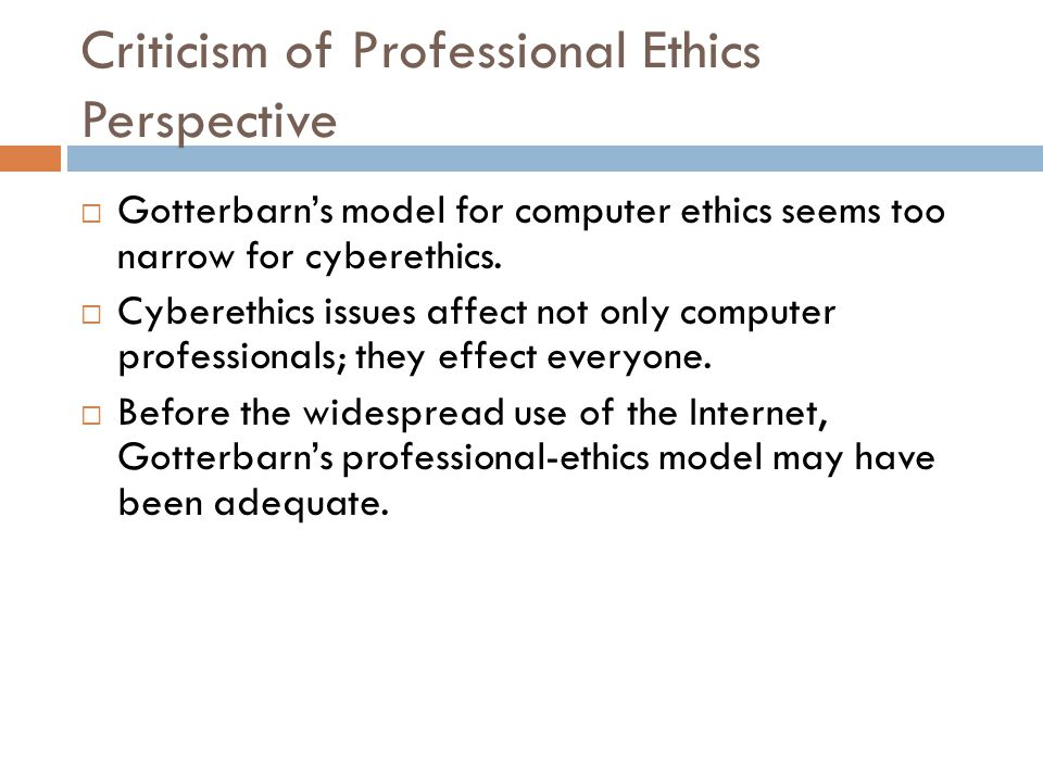 Criticism of Professional Ethics Perspective