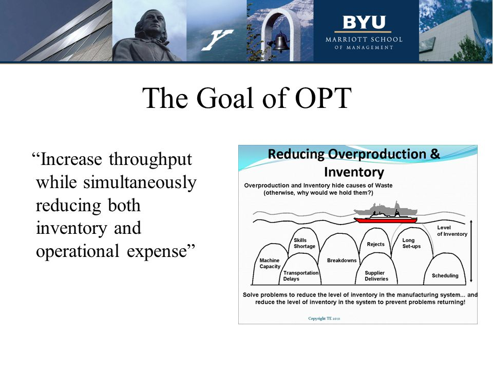 The Goal of OPT Increase throughput while simultaneously reducing both inventory and operational expense