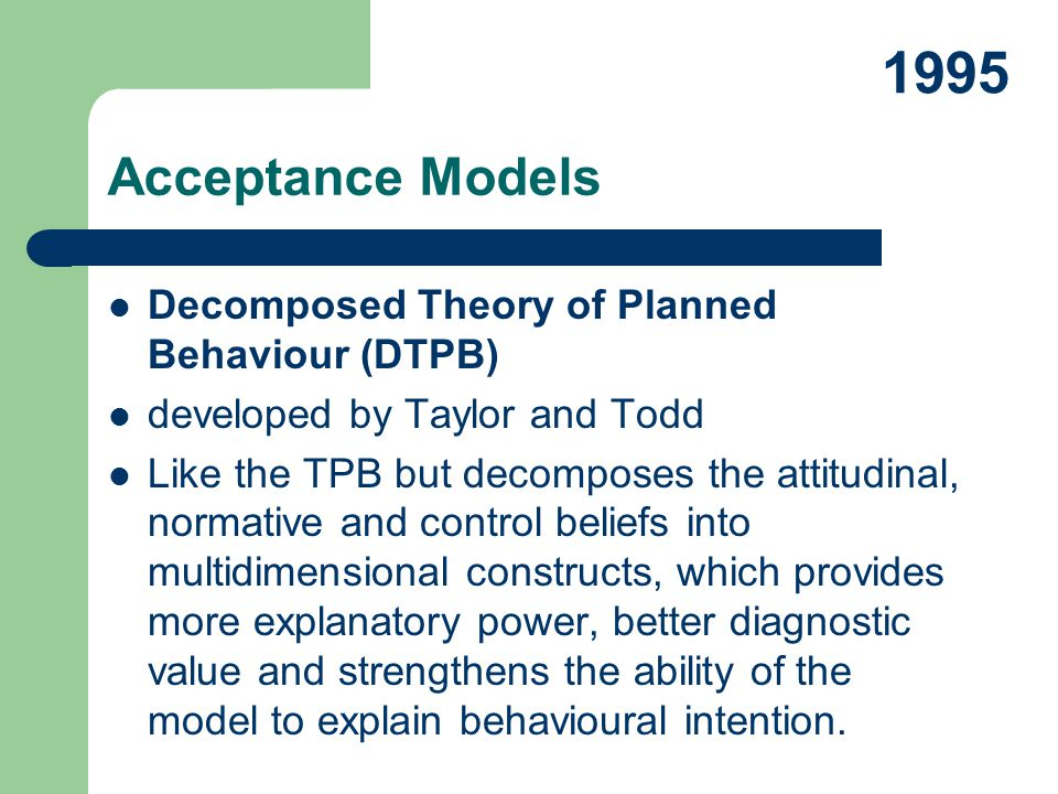 1995 Acceptance Models Decomposed Theory of Planned Behaviour (DTPB)