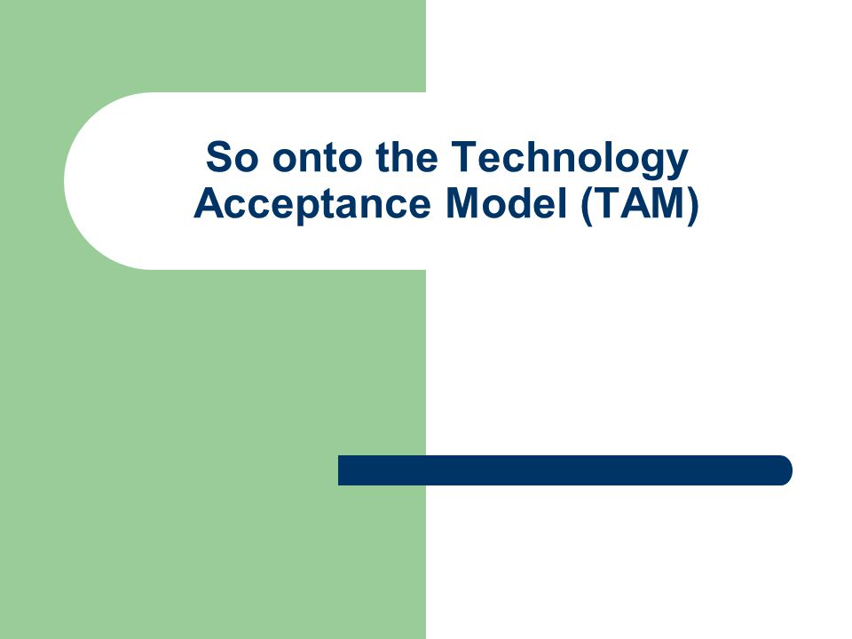 So onto the Technology Acceptance Model (TAM)