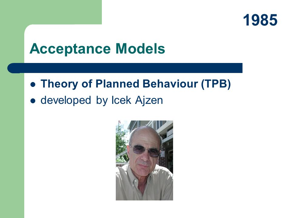 1985 Acceptance Models Theory of Planned Behaviour (TPB)