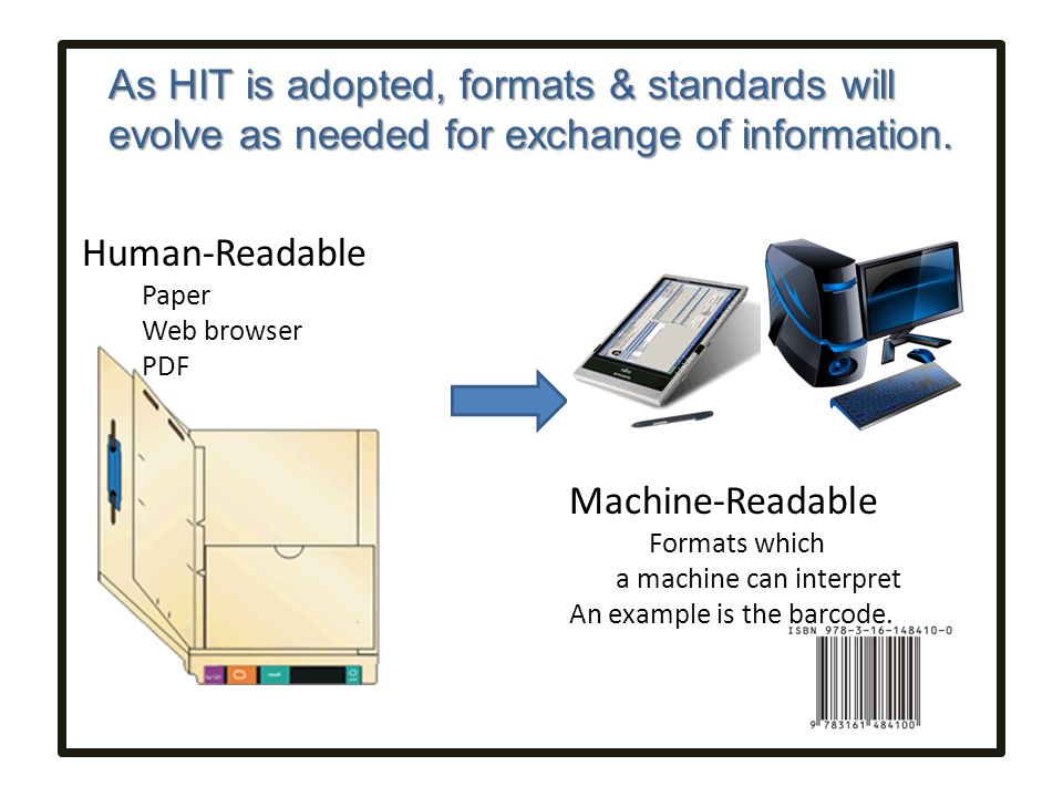 As HIT is adopted, formats & standards will