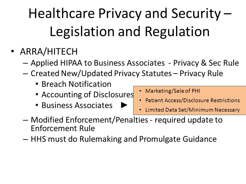 Healthcare Privacy and Security – Legislation and Regulation