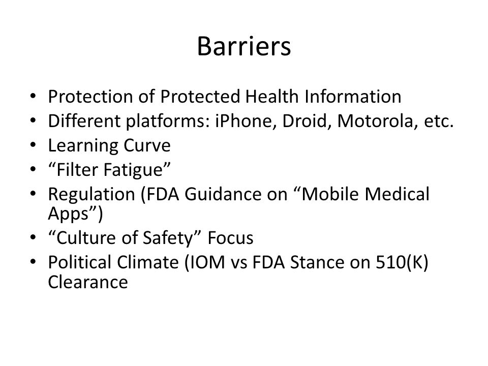 Barriers Protection of Protected Health Information