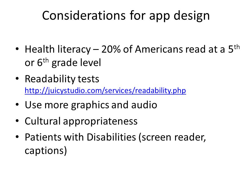 Considerations for app design