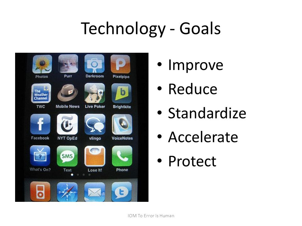 Technology - Goals Improve Reduce Standardize Accelerate Protect