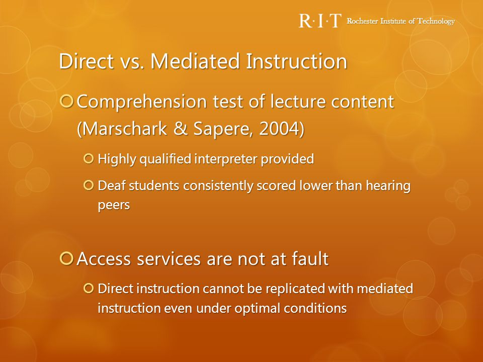 Direct vs. Mediated Instruction
