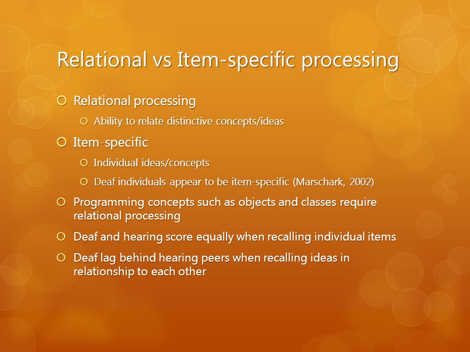 Relational vs Item-specific processing